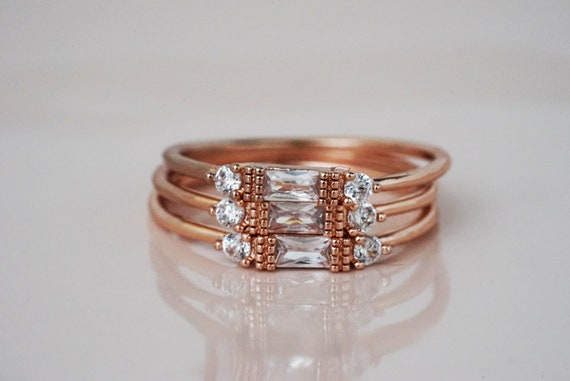 Mylah Dainty Stacker Ring. Three Sizes. Rose Gold and White Crystal.