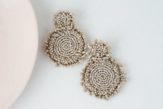 Kleah Drop Earrings. Nude Beads.