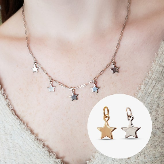 2 Anna Star Charms. Gold Plated Brass or Silver Plated Brass.