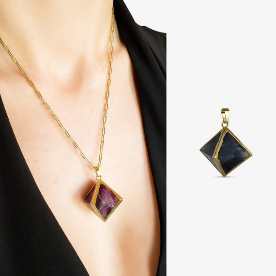 Freya Pendant. Rainbow Fluorite and Gold Plating.