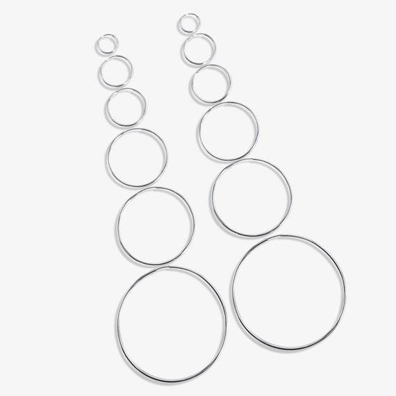 Athena Endless Hoops. Six Sizes. Sterling Silver.