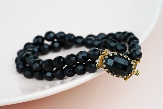 Vintage Dora Bracelet. Black Faceted Beads and Gold Plating.