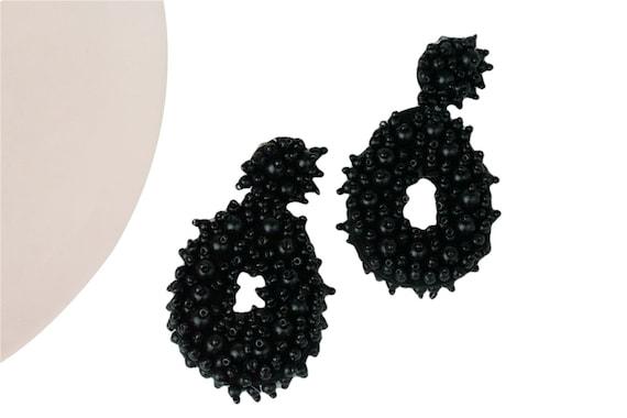 Elena Beaded Drop Earrings. Black.