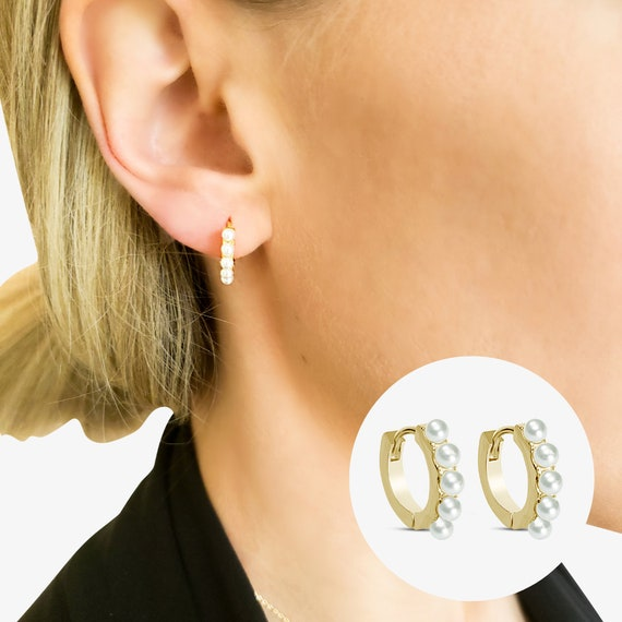 Dot Hoops. Gold Plated Sterling Silver and Pearls.