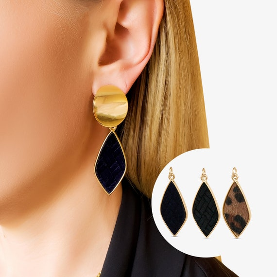 Andrea Pendant. Three Colors. Velvet or Animal Print and 16K Gold Plated Brass.