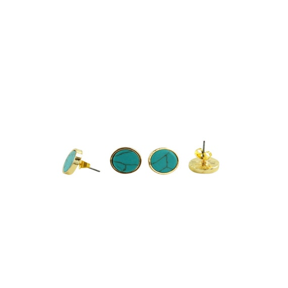 Emma Stud Earrings. Turquoise. Gold Plated.