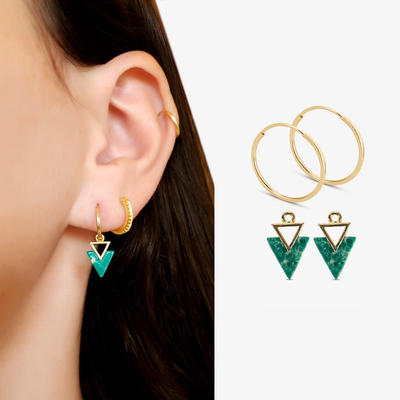 Athena Endless Hoops and/or Slide-On Nora Charms. 14K Gold Filled Hoops and Gold Plated Brass Charms.