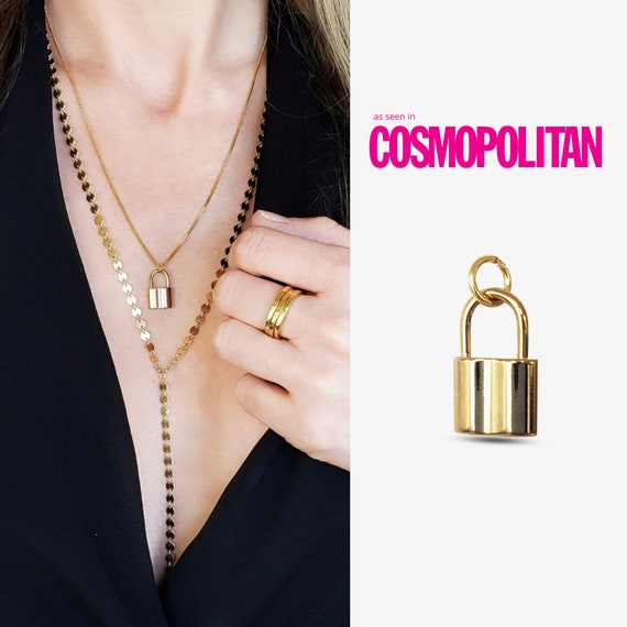 Rosalee Padlock Pendant. Gold Plated Stainless Steel.