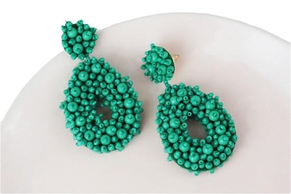 Elena Beaded Drop Earrings. Green.