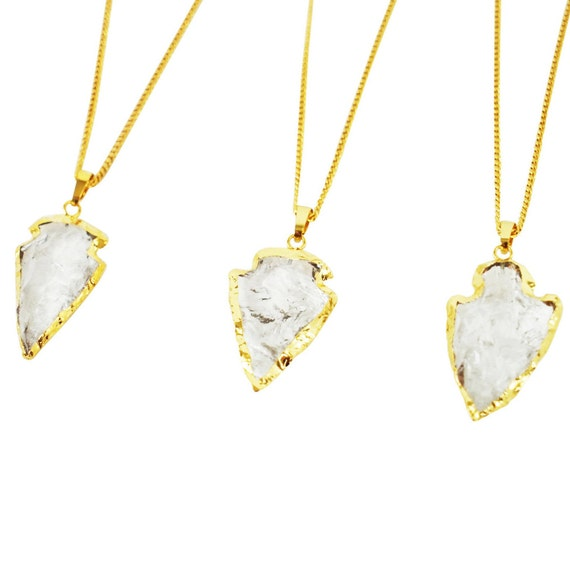 Evie Pendant. Crystal Quartz and 24K Shiny Gold Plating.