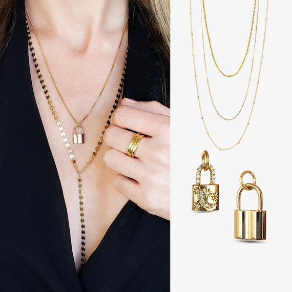 Layering Gold Filled Necklaces with our Rosalee or Kenji Padlocks.