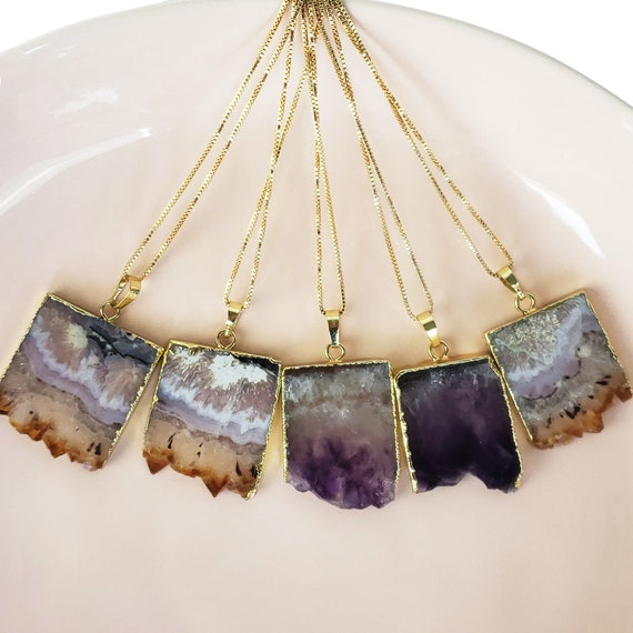 Imani Pendant. Two Colors. Amethyst or Citrine and Gold Plating.