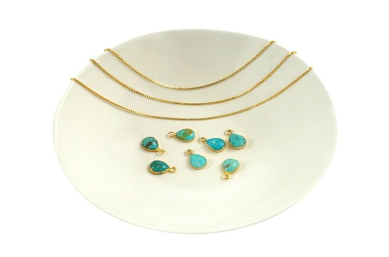 Tiny Dainty Turquoise Pendant Real Natural Stone Teardrop Stone Natasha Pendant Simple Minimalist Bracelet Necklace Earrings NATASHA