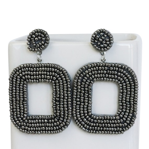 Femi Studs or Pendants. Gray. Seed Beads.