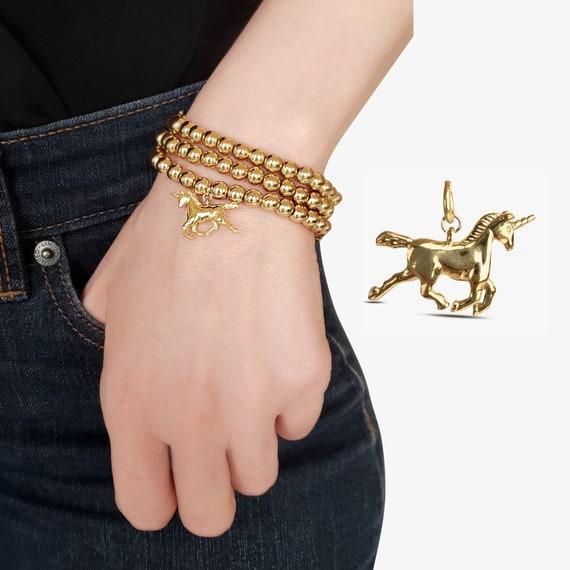 Finley Unicorn Pendant. Gold Plated Brass.