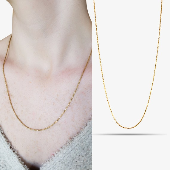 Amelia Necklace. 20 Inches. Gold Plated Copper.