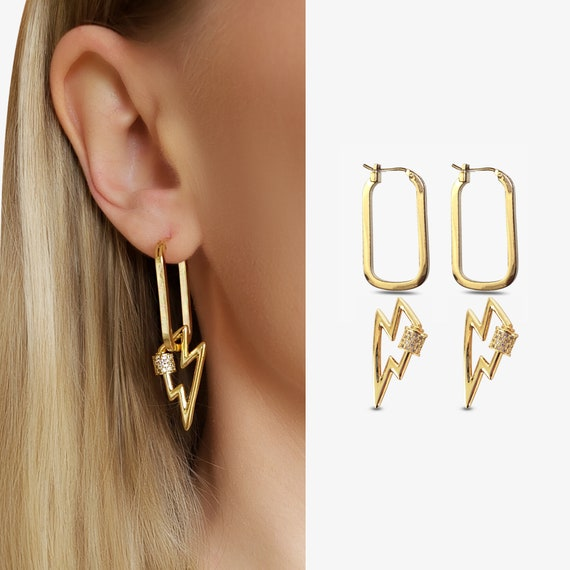 Vada Hoops and/or Bridgette Lightning Bolt Locks. Gold Plated Copper and Cubic Zirconia.
