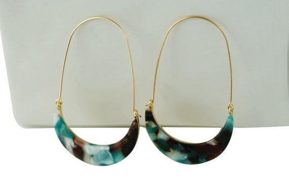 Bay Crescent Earrings. Turquoise.