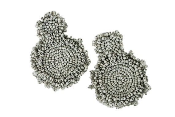 Kleah Beaded Statement Earrings. Gray.