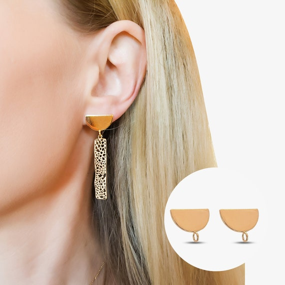 Eve Semi Circle Earrings. 24K Gold Plated Brass.