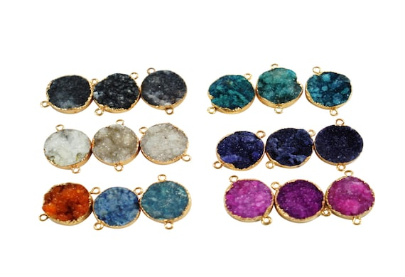 Vanessa Druzy Connector. Seven Colors. Rose Gold Plated Agate Stone.