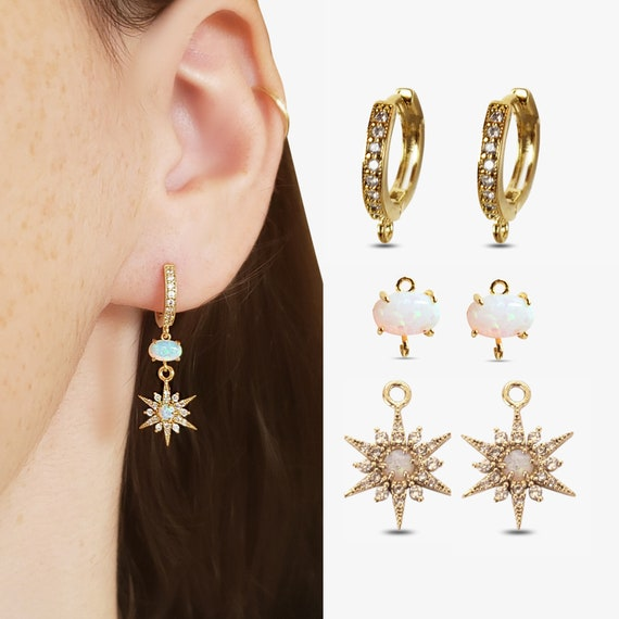 Starry Night Earrings: Cora Hoops. Narelle Connector Charms. Raina Star Charms.
