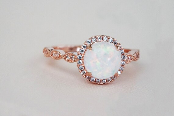 Kailee Opal Ring. Three Sizes. Rose Gold.