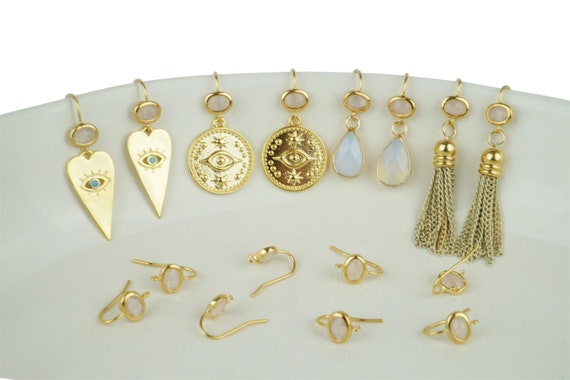 Phoebe Earrings. Glass and Gold Plated Brass.
