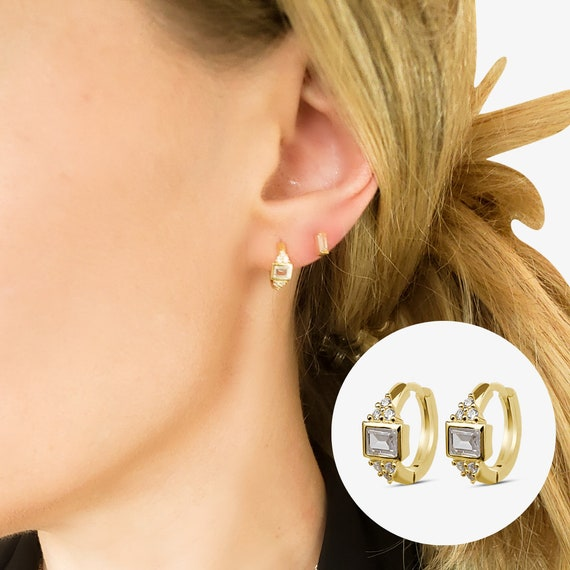Avery Hoops. Gold Plated Sterling Silver and Cubic Zirconia.
