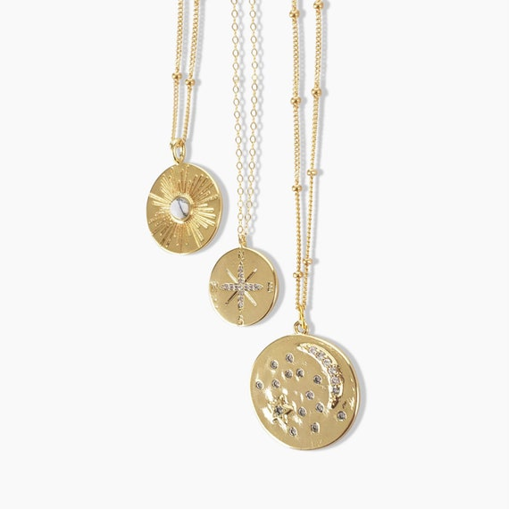 Celestial Coin Layered Necklace Collection. Three Styles.
