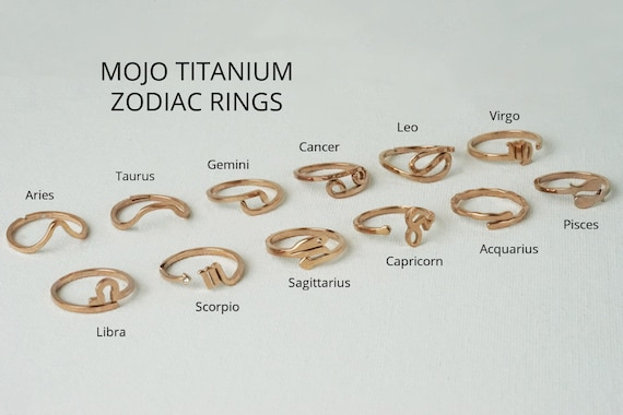 Joyce Zodiac Rings. Adjustable. Twelve Signs. Titanium.