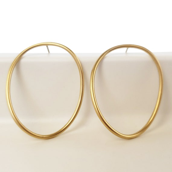 Miah Hoops. Matte Gold Plated Brass.