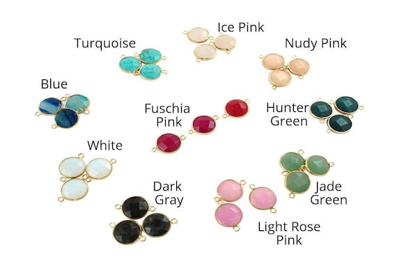 Daisy Connector. Ten Colors. Gold Plated Natural Gemstone.