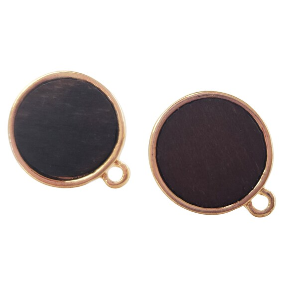 Teegan Circle Studs. Natural Wood.