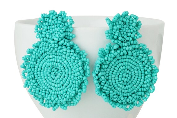 Kleah Beaded Statement Earrings. Turquoise.