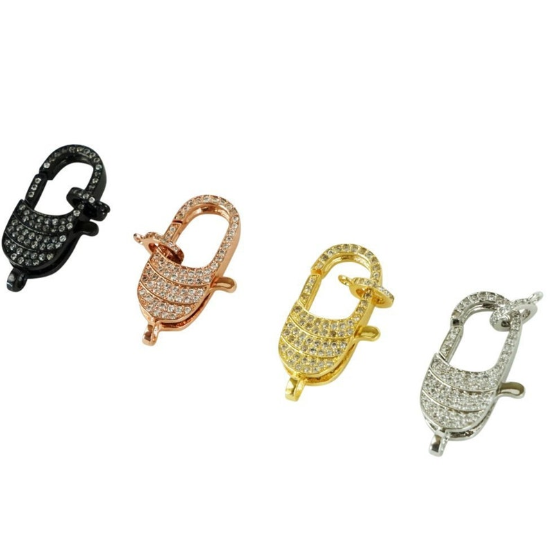 4 Colors Large Chunky Chain Necklace Clasp Long Oval Lobster Clasp Connector for Statement Necklace Bracelet Carabiner Lock Micro Pave LOLA
