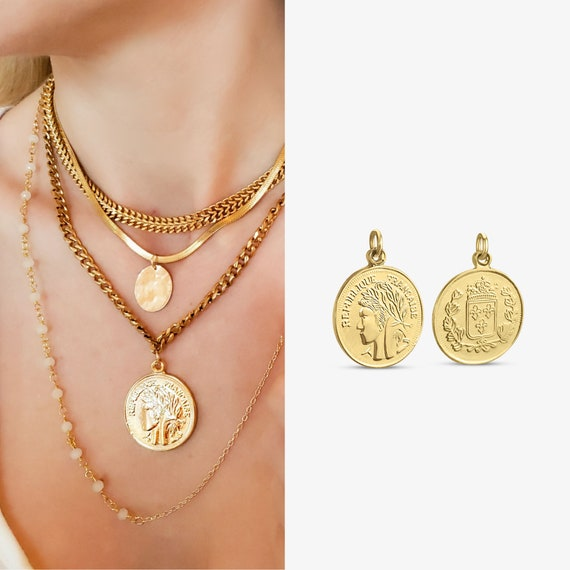 Cadence Coin Pendant. Shiny Gold Plated Brass.