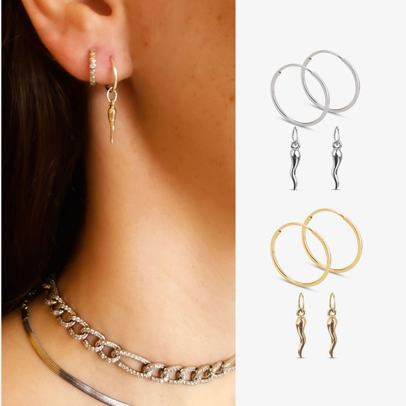 Endless Hoops and Slide-On Horn Charms. You Choose. Two Colors. 14K Gold Filled or 925 Sterling Silver.