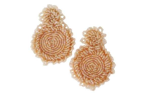 Kleah Beaded Statement Earrings. Blush.