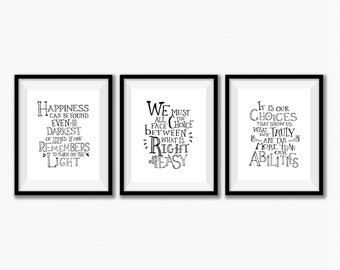 harry potter quotes wall art set of 3 harry potter wall art posters harry potter quotes watercolor nursery wall art printable download