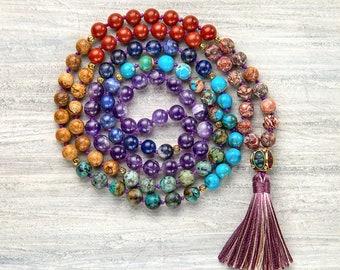 Mala beads 7 chakra necklace Chakra balancing Mala necklace
