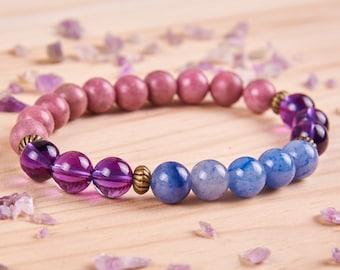 21140f3cb Womens bracelet Fertility jewelry Amethyst bracelet Womens jewelry Blue  aventurine bracelet Bead jewelry Gemstone bracelet Rhodonite jewelry