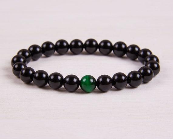 Black onyx bracelet Mens jewelry Tigers eye bracelet Mens bracelet Black bracelet Mens gift for him Beaded gemstone bracelet Stones energy