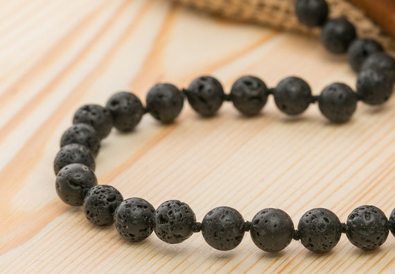 Mens necklace Boyfriend gift for man Black lava necklace Mens jewelry Beaded necklace Stone jewelry Mens gift for him Lava jewelry for men