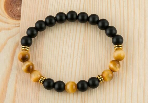 Mens' bracelets Tiger eye bracelet Mens' jewelry Black onyx bracelet Mens gift for boyfriend Gemstone bracelet Beads bracelet Gems healing