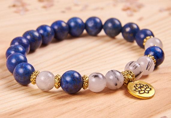 Lapis bracelet Womens jewelry Lotus jewelry Womens yoga bracelet Gemstone jewelry Womens gift Quartz bracelet Lapis lazuli jewelry for woman