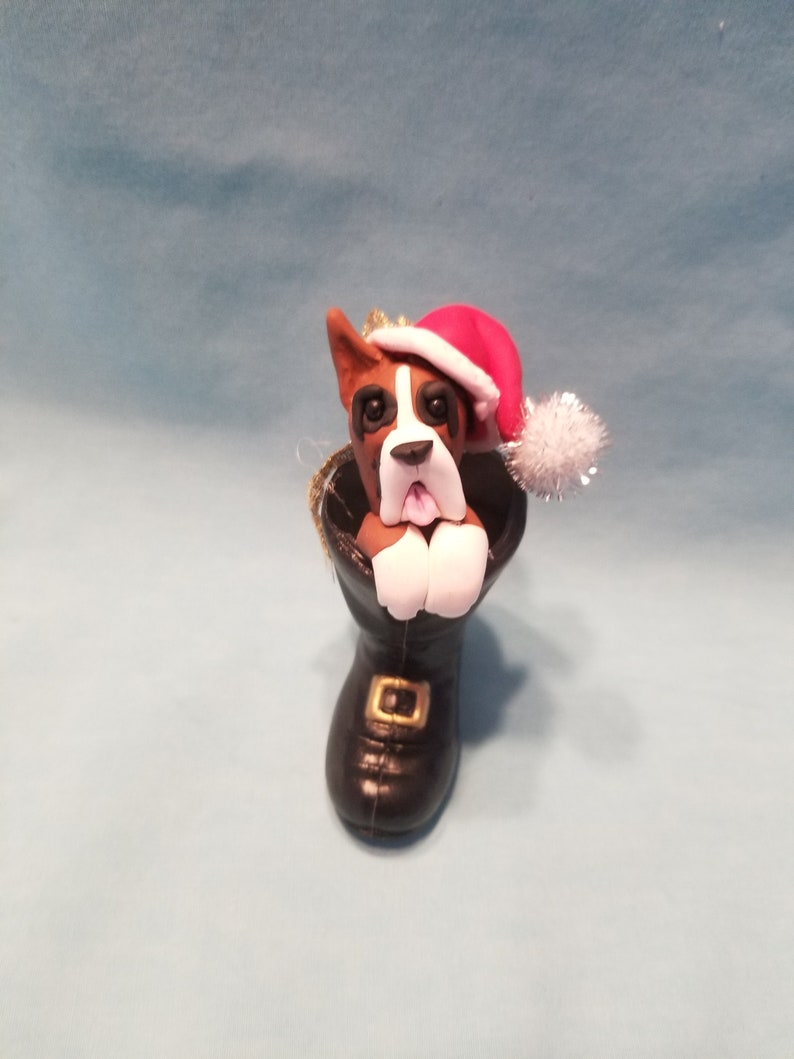 Personalized Boxer Dog in Santa/'s  Boot Handmade Polymer Clay Sculpture Ornament