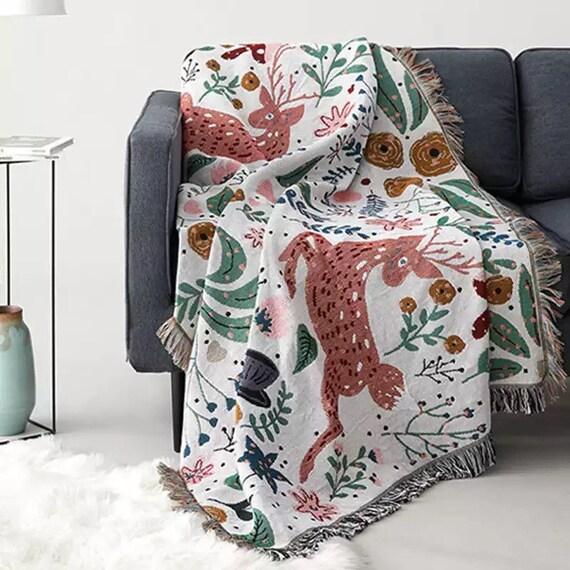Spring - Woven Art Blanket, Knitted Blanket With Tassels, Reversible Sofa Blanket, Decor Blanket, Wall Tapestry Blanket, Birthday Gift Mom