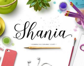 Shania Fonts Download font Swirly Font Script Font Digital download swash font Cricut font calligraphy font wedding font bundle