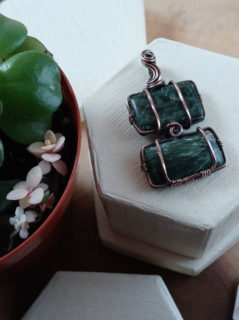 Oxidized Wire Wrapped Seraphinite Crystal Gem Stone Necklace Minimalist Rustic Celtic